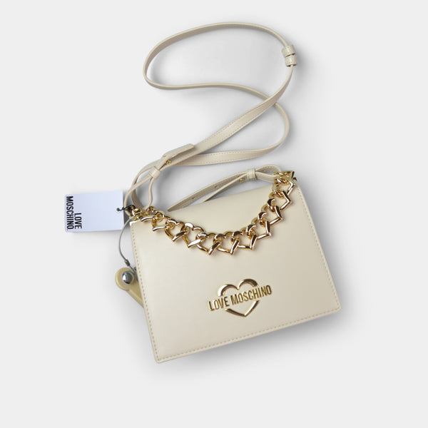 LOVE MOSCHINO  HANDBAG HEARTS CHAIN IN IVORY
