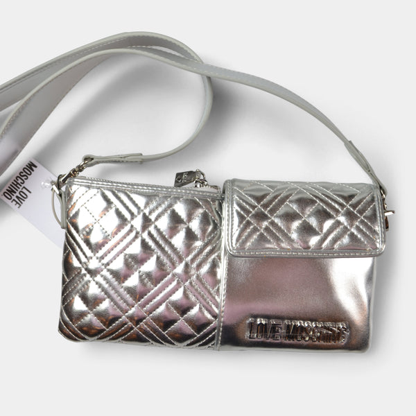 LOVE MOSCHINO SILVER FANNY PACK