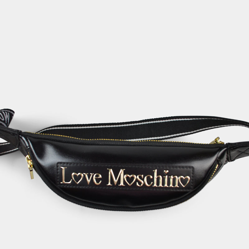 LOVE MOSCHINO QUILTED WAIST BAG WITH LOGO IN BLACK