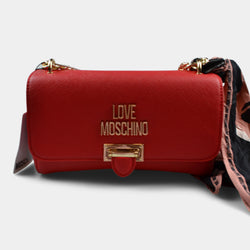 LOVE MOSCHINO SHOULDER BAG WITH LOGO IN RED