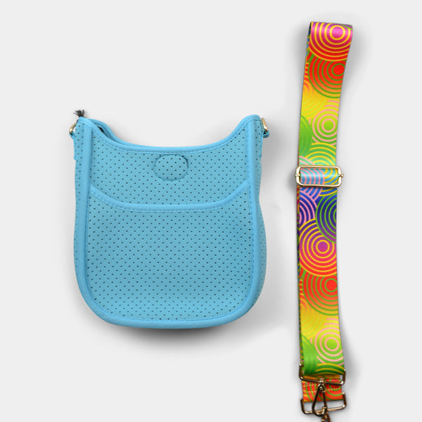 AH-DORNED MINI HANDBAG NEOPRENE MESSENGER WITH STRAP IN RAINBOW