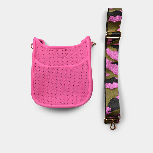 AH-DORNED MINI HANDBAG NEOPRENE MESSENGER WITH STRAP IN PINK CAMO