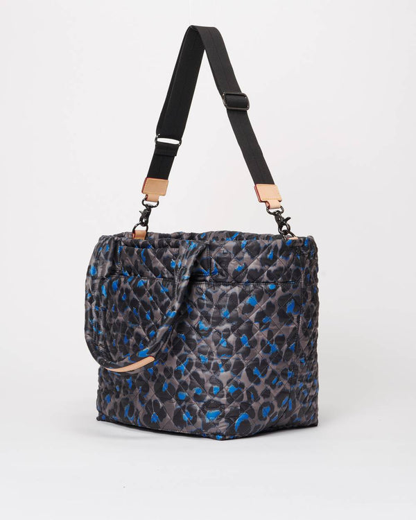 MZ WALLACE MEDIUM METRO TOTE IN BLUE LEOPARD MEDIUM