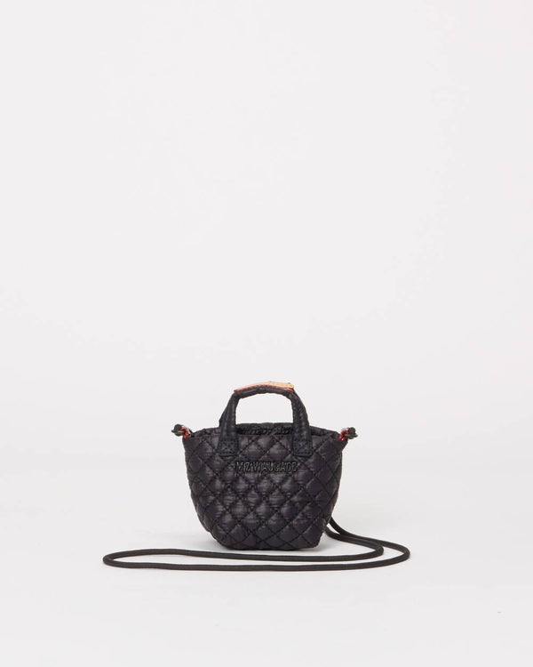 MZ WALLACE TINY METRO TOTE IN BLACK/ POPPY