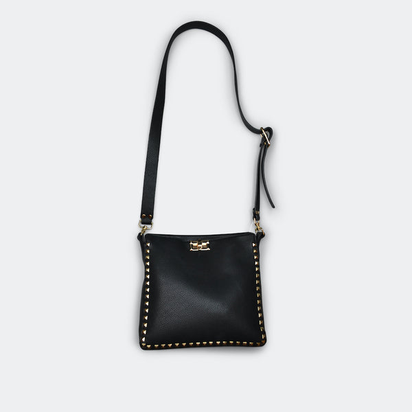 FASHION BY A STEP ABOVE BLACK SIDE BAG WITH STUDS