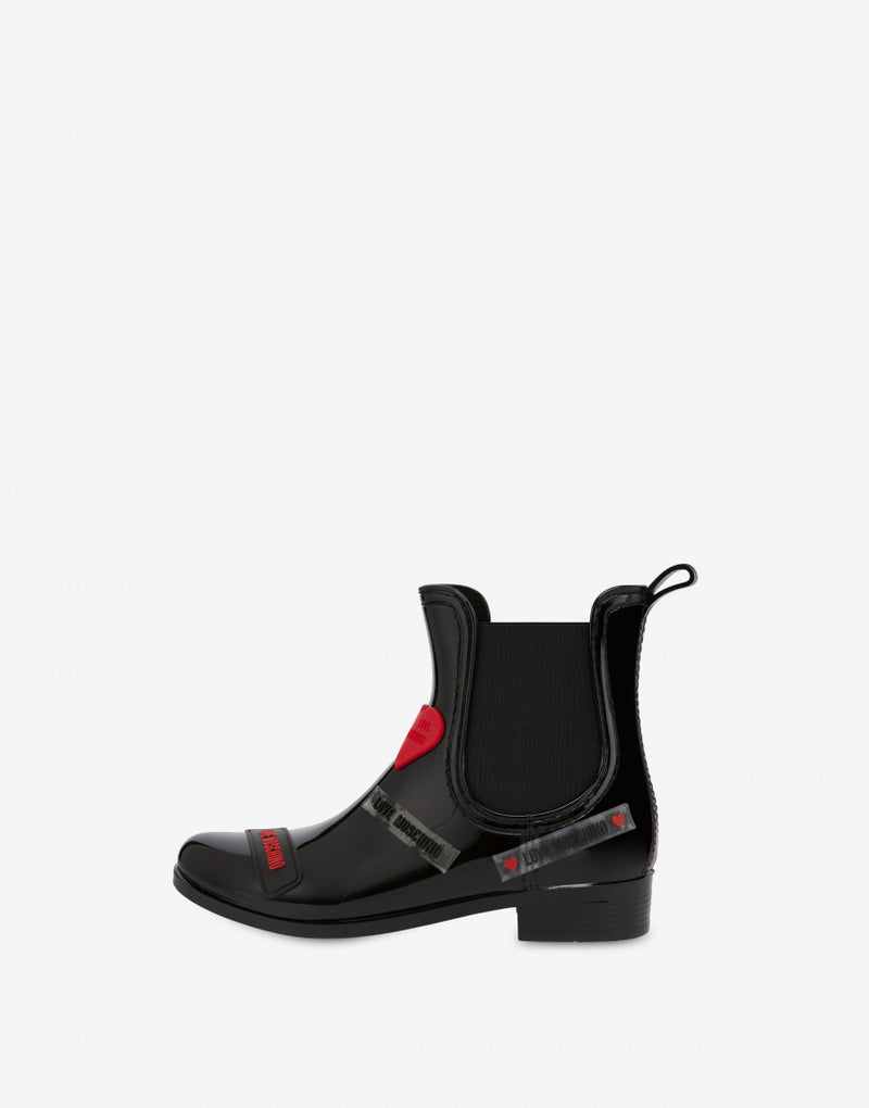 LOVE MOSCHINO RAIN ANKLE BOOTS LOVE TAG IN BLACK