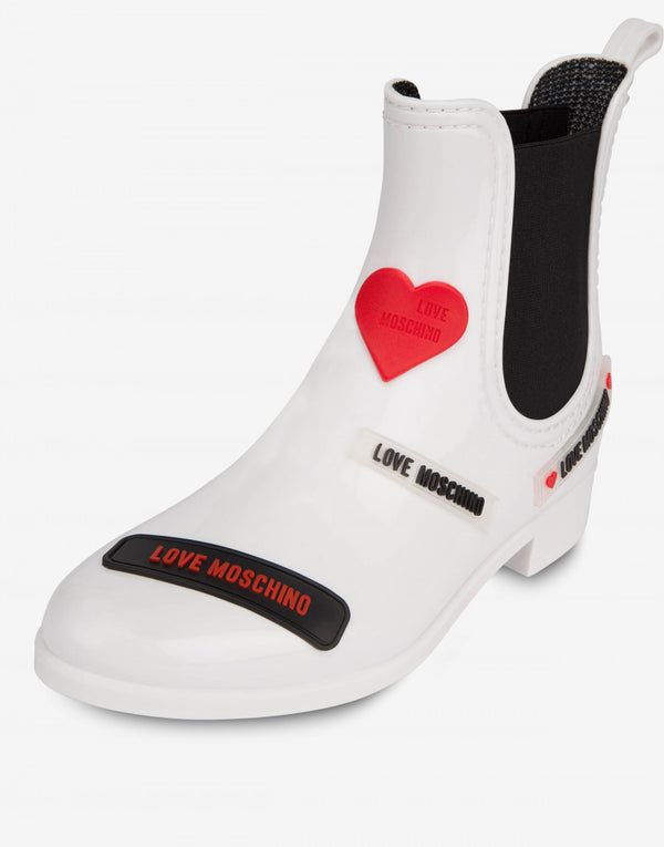 LOVE MOSCHINO RAIN ANKLE BOOTS LOVE TAG IN WHITE