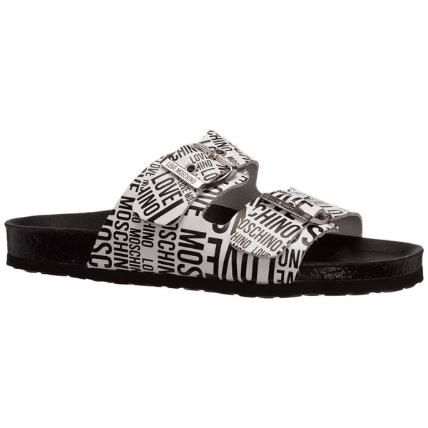 LOVE MOSCHINO HEART LOGO PRINT SANDALS