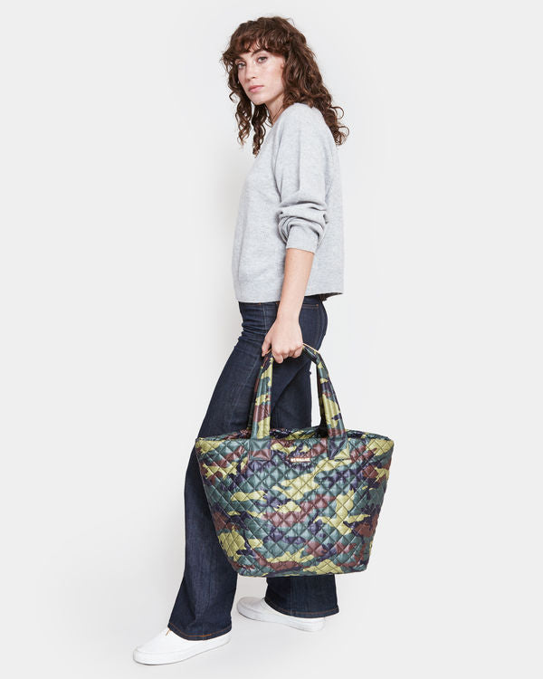 MZ WALLACE MEDIUM METRO TOTE IN GREEN CAMO