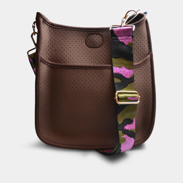 AH-DORNED HANDBAG NEOPRENE MESSENGER WITH STRAP IN BROWN CAMO