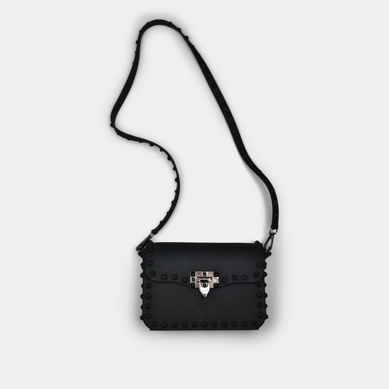 FASHION BY A STEP ABOVE BLACK SMALL SIDE BAG WITH STUDS