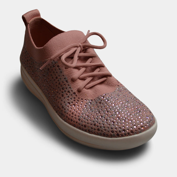 FITFLOP UBERKNIT CRYSTAL SLIP ON SNEAKER IN PINK