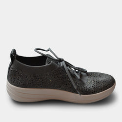 FITFLOP UBERKNIT CRYSTAL SLIP ON SNEAKER IN GREY