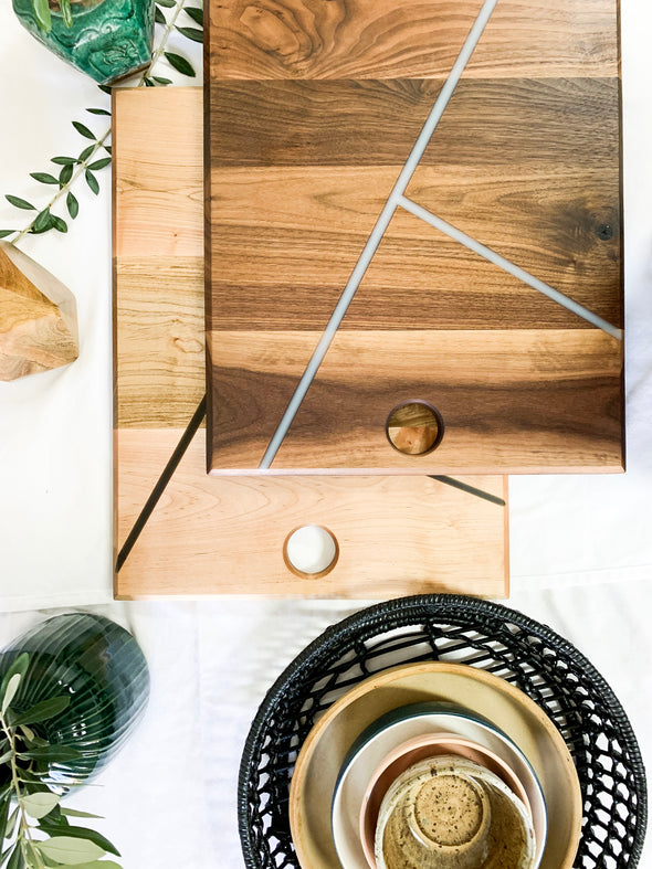 Bella Rectangle Charcuterie Board - Black Walnut with White Stripes