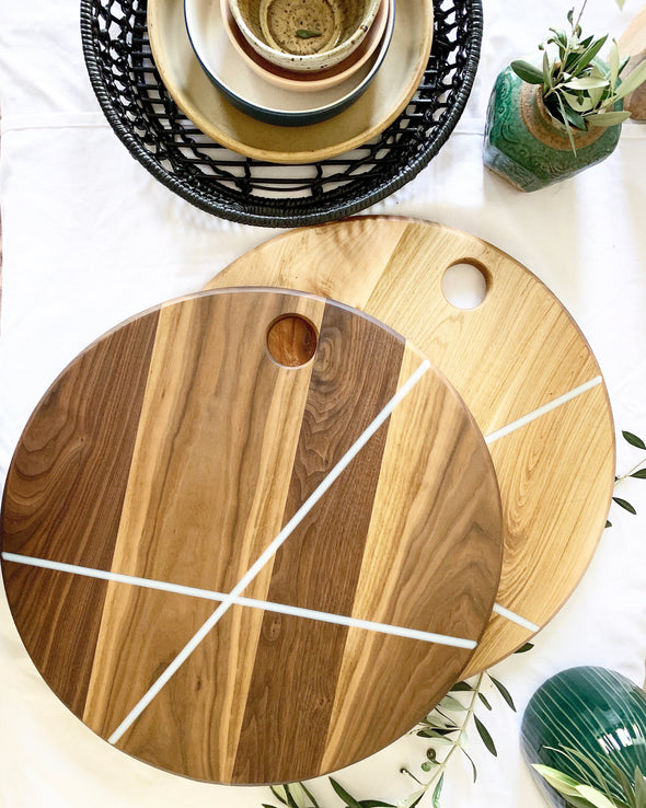 Bella Round Charcuterie Board - Black Walnut with White Stripes