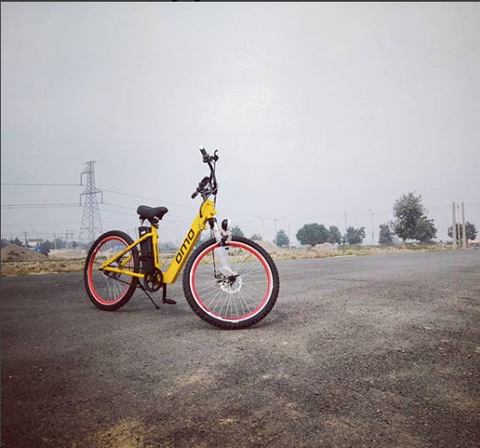OMOBikes electric cycle yellow color new model with fat tyre