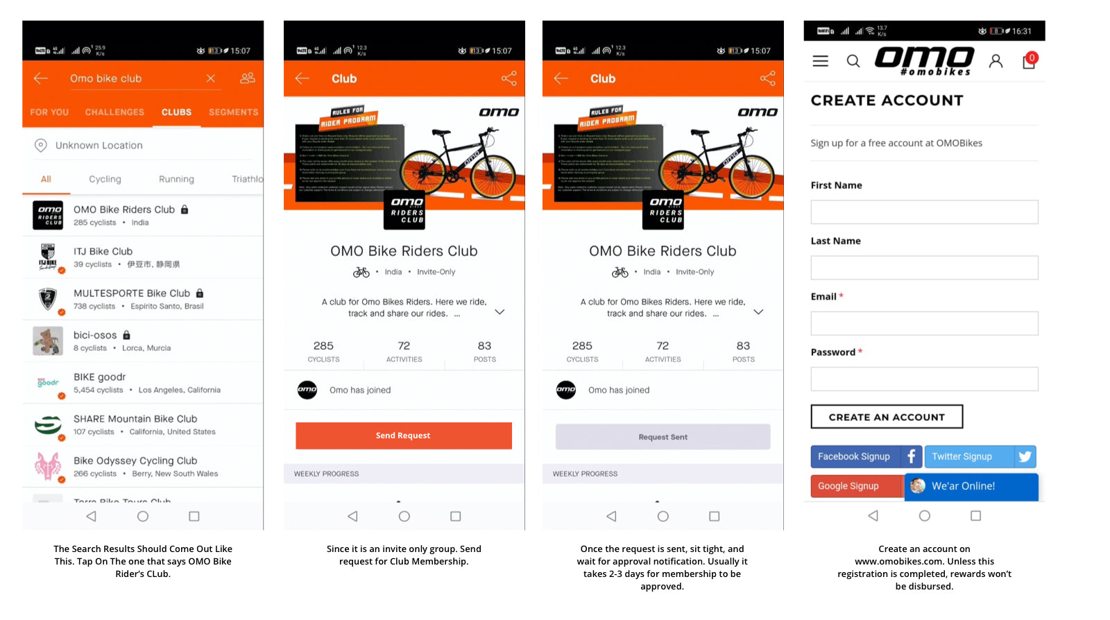 omobikes strava club joining instructions