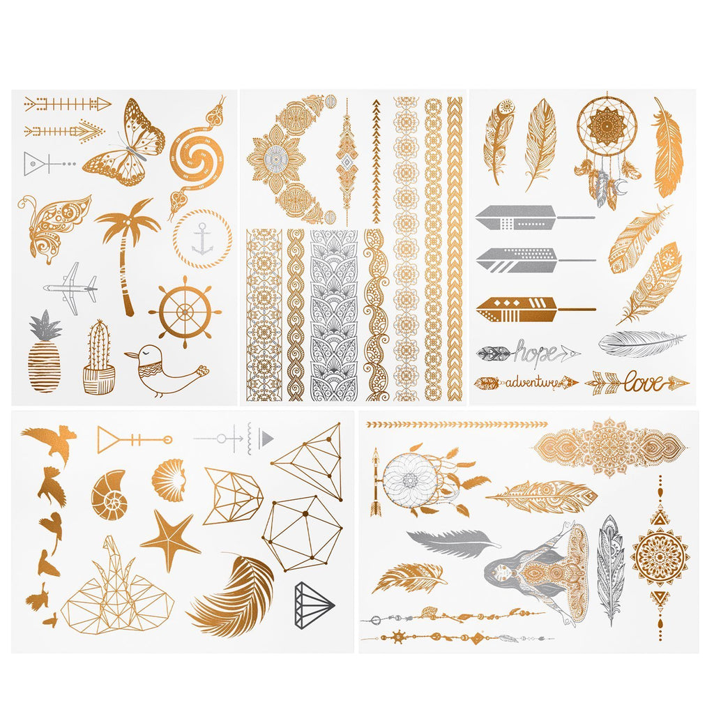 Metallic Tattoos - 110 Einzigartige Designs - Temporär (10 Blatt)