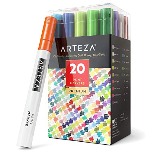 ARTEZA Paint Markers, Set of 20 Markers Perfect for Drawing and Painting on Virtually Any Surface