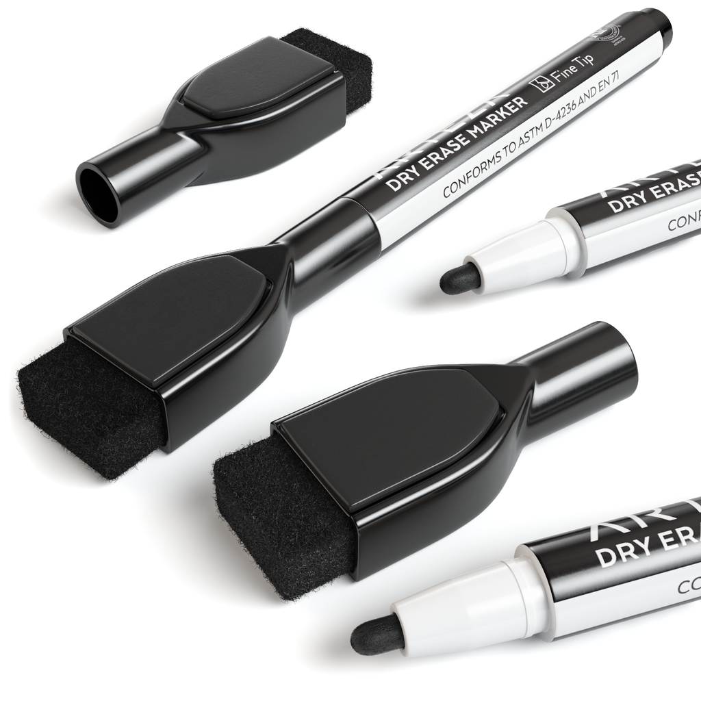 Dry Erase Markers Set of 36 with Magnet and Eraser Cap (Fine Tip, Black Color)