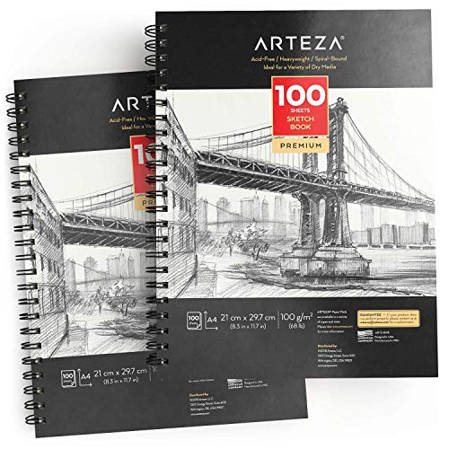 ARTEZA Spiral-Bound Sketchbook, Set of 2, A4 (21 x 29.7 cm), 100 Acid-Free, Fine Tooth Sheets in Each, Ideal for a Variety of Dry Media, Practice Techniques, and Quick Studies