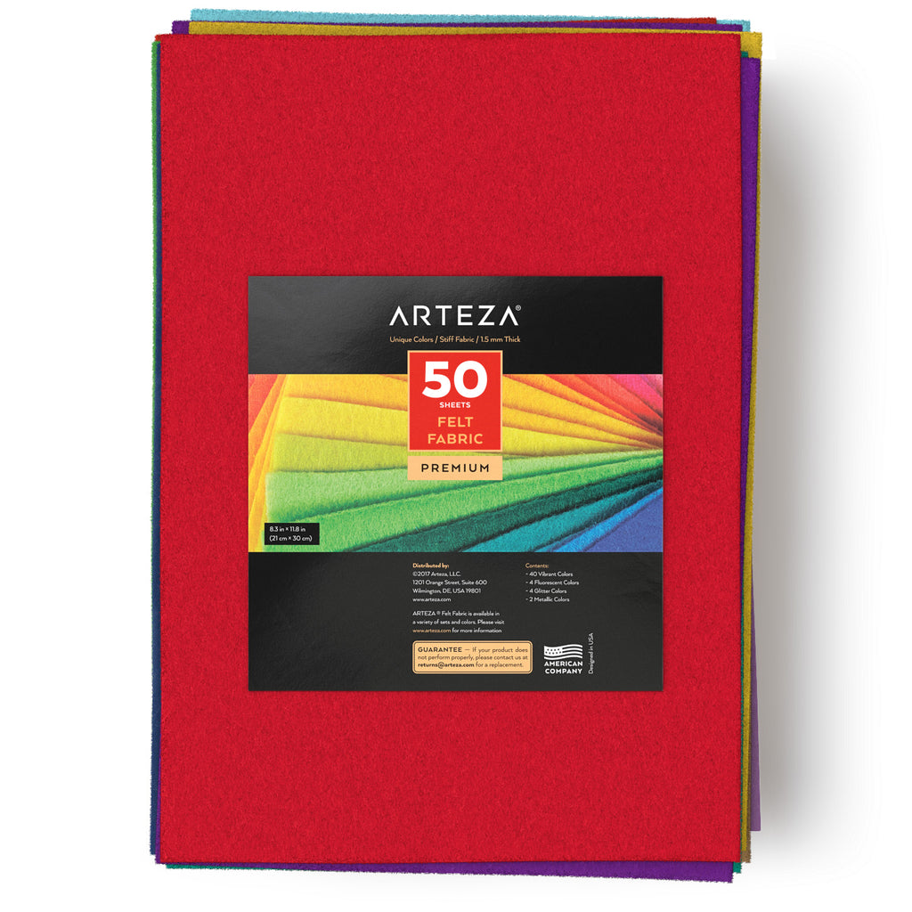 Arteza 50 Assorted Stiff Felt Fabric Sheets, 1.5mm Thick for DIY Crafts, Sewing, Crafting Projects