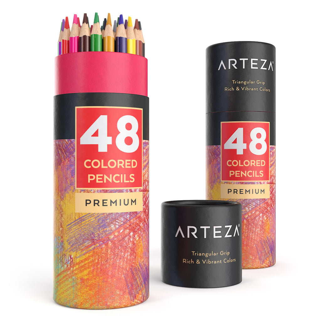 Arteza Colored Pencils, Soft-Core, Triangular-shaped, Pre-sharpened (Pack of 48)