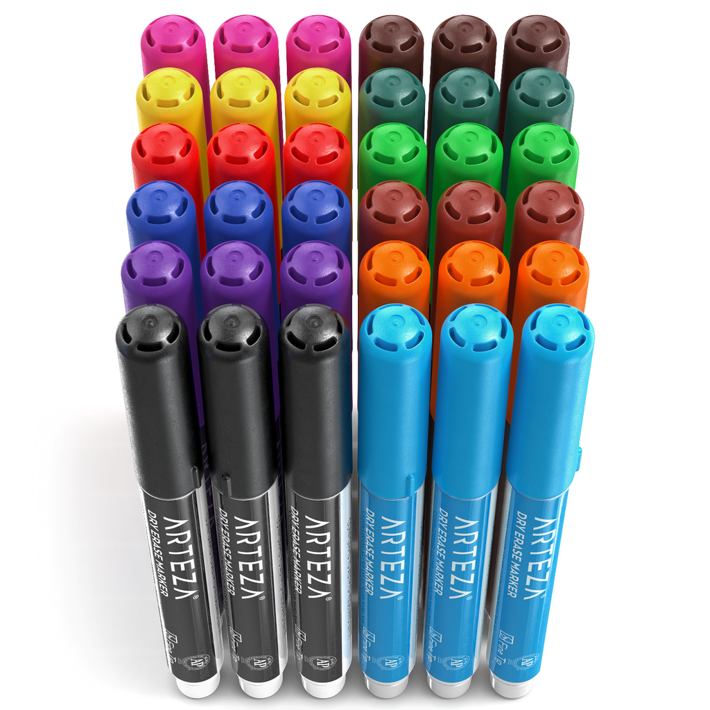 Dry Erase Markers Set of 36 (Fine Tip, 12 Colors)
