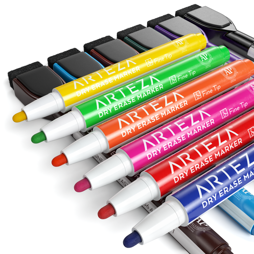 Dry Erase Markers Set of 24 with Magnet and Eraser Cap ( Fine Tip, 12 colors )