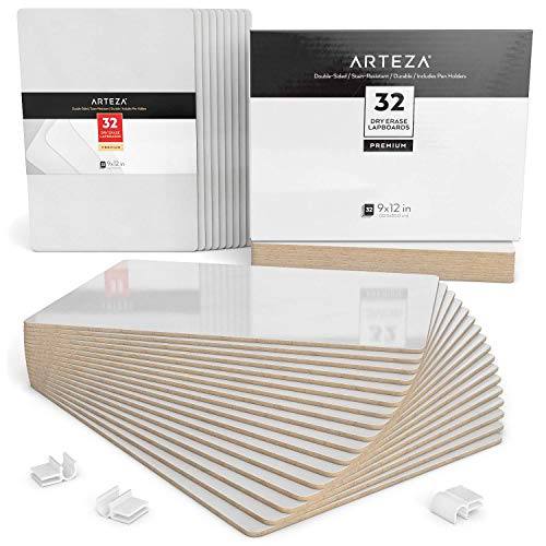 ARTEZA Dry Erase Lapboards, Bulk Set of 32 Double Sided 9x12 in Whiteboards Perfect for Teachers, Students, and Office Work