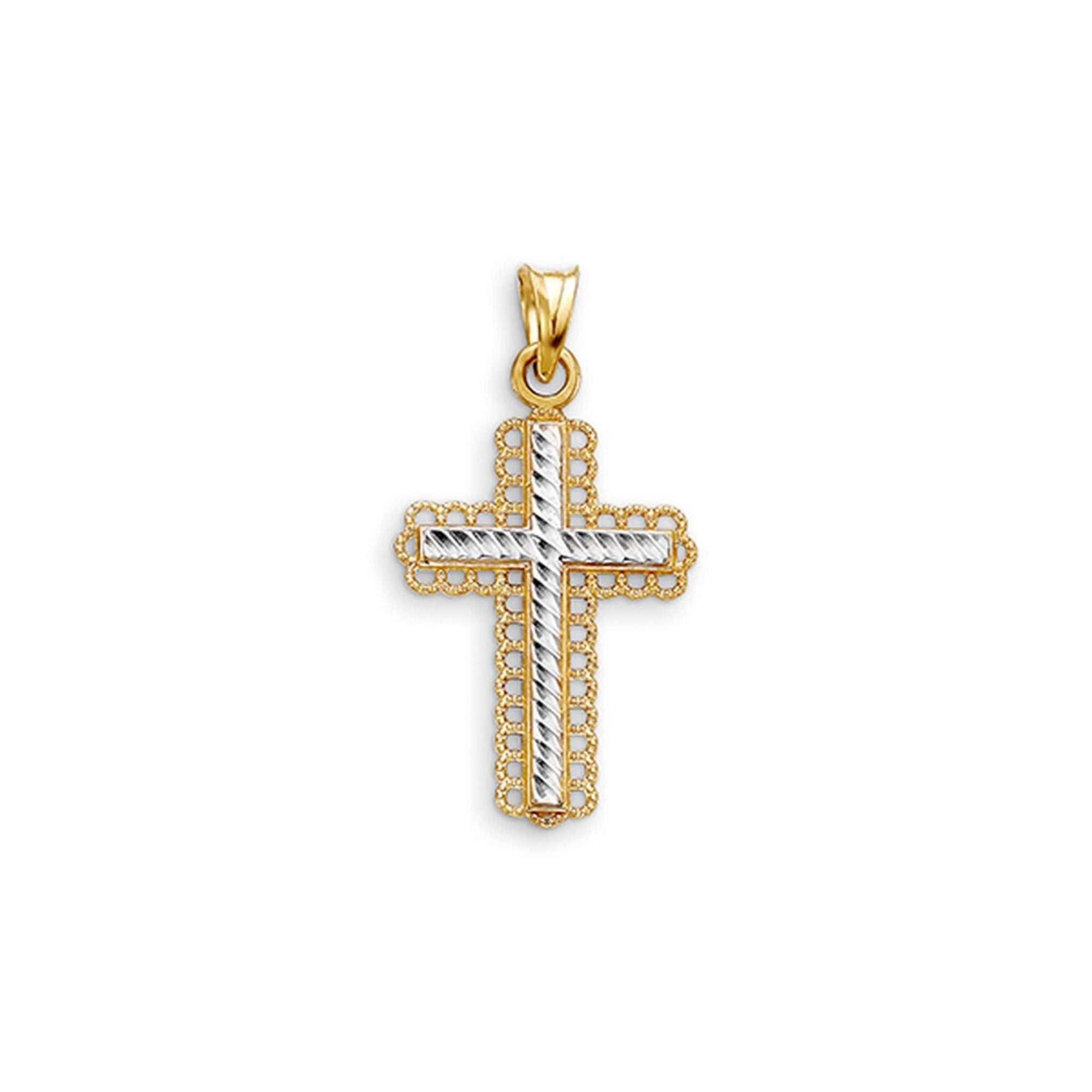 10K Detailed Diamond-Cut Cross Pendant at Arman's Jewellers