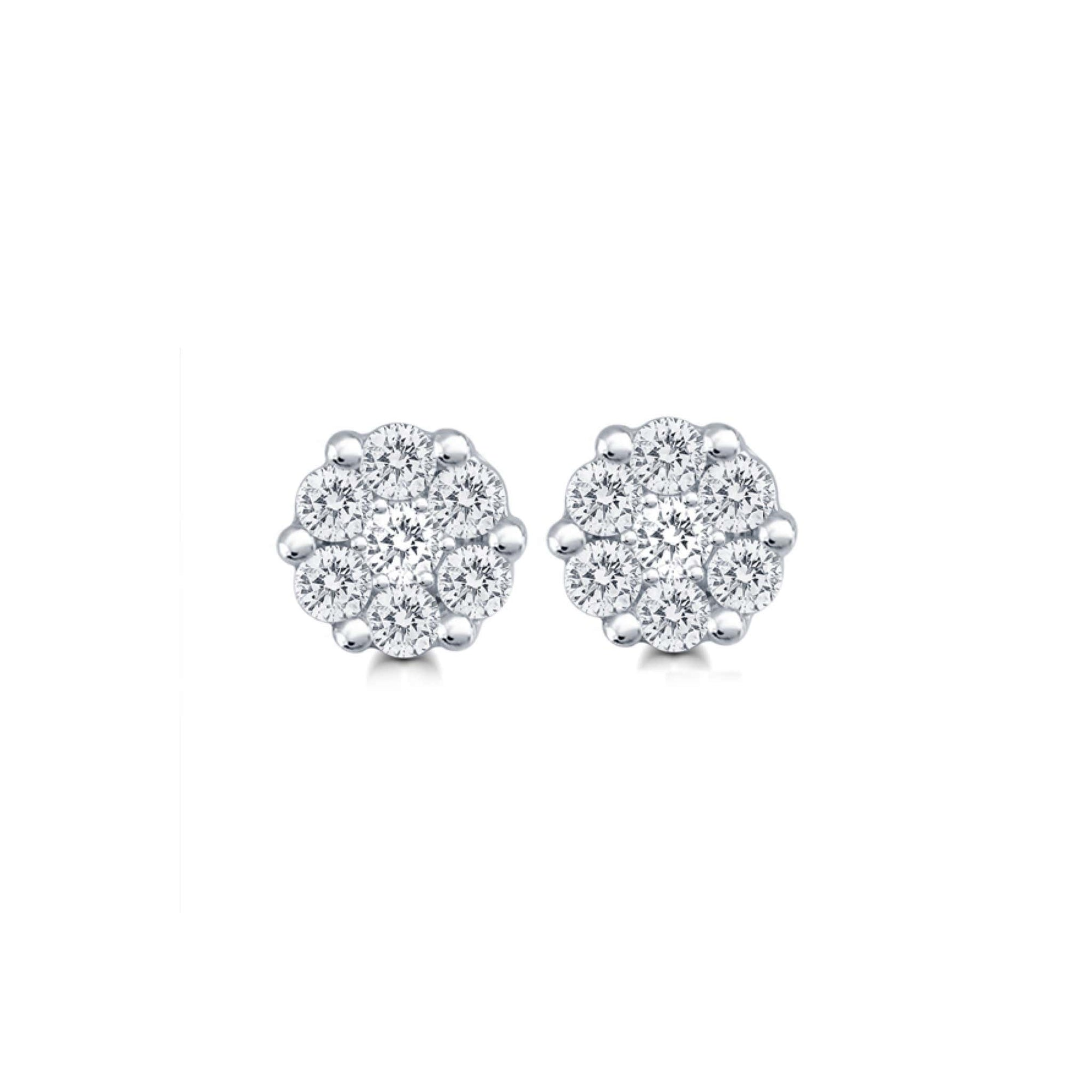 10K Diamond Flower Cluster Stud Earrings at Arman's Jewellers