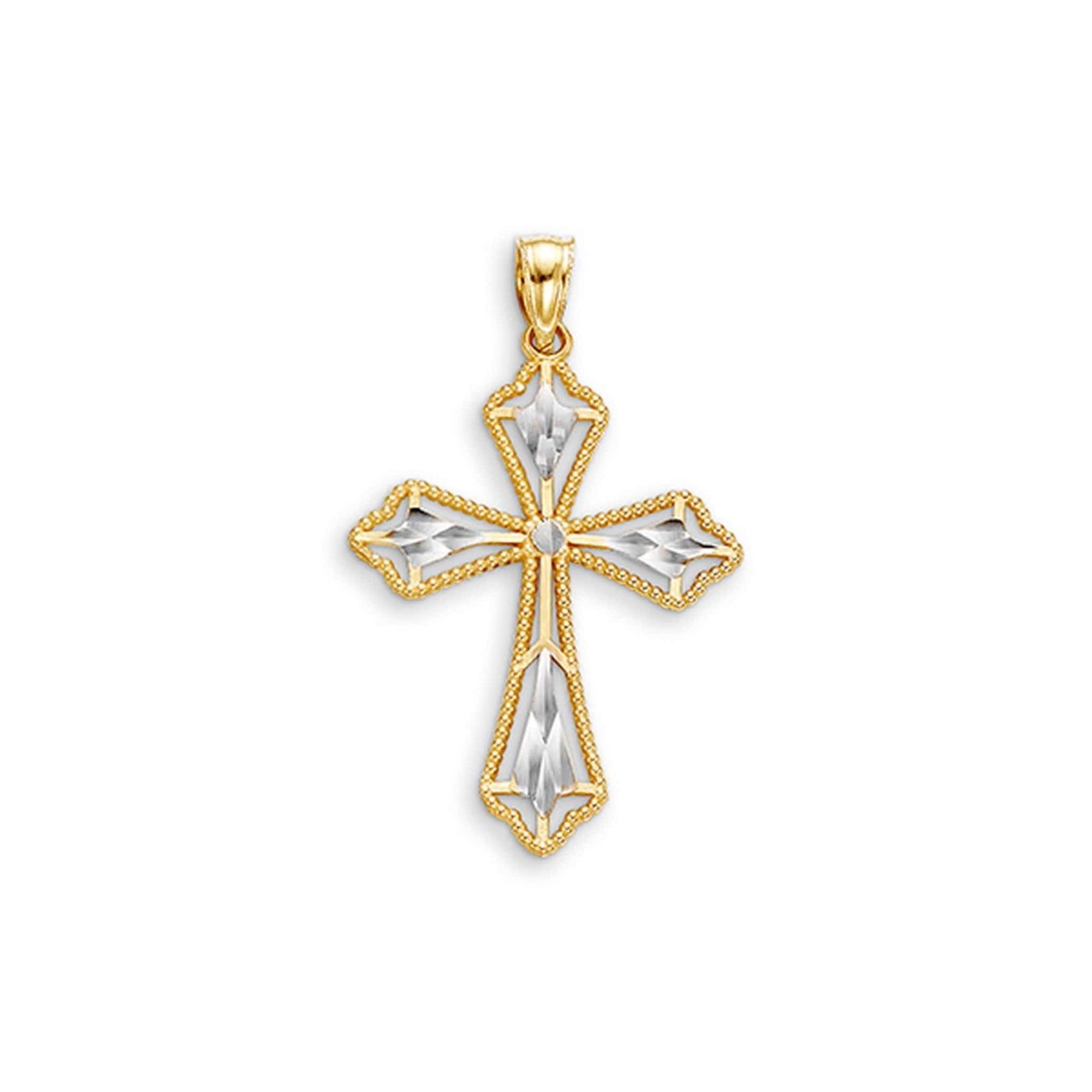 10K Fancy Diamond-Cut Cross Pendant at Arman's Jewellers