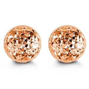 10mm 10K Rose Gold Diamond-cut Ball Stud Earrings at Arman's Jewellers