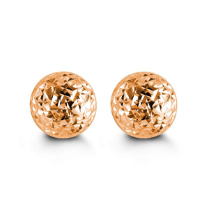8mm 10K Rose Gold Diamond-cut Ball Stud Earrings at Arman's Jewellers