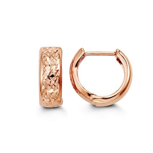 10K Rose Gold Diamond-Cut Huggie Hoop Earrings at Arman's Jewellers