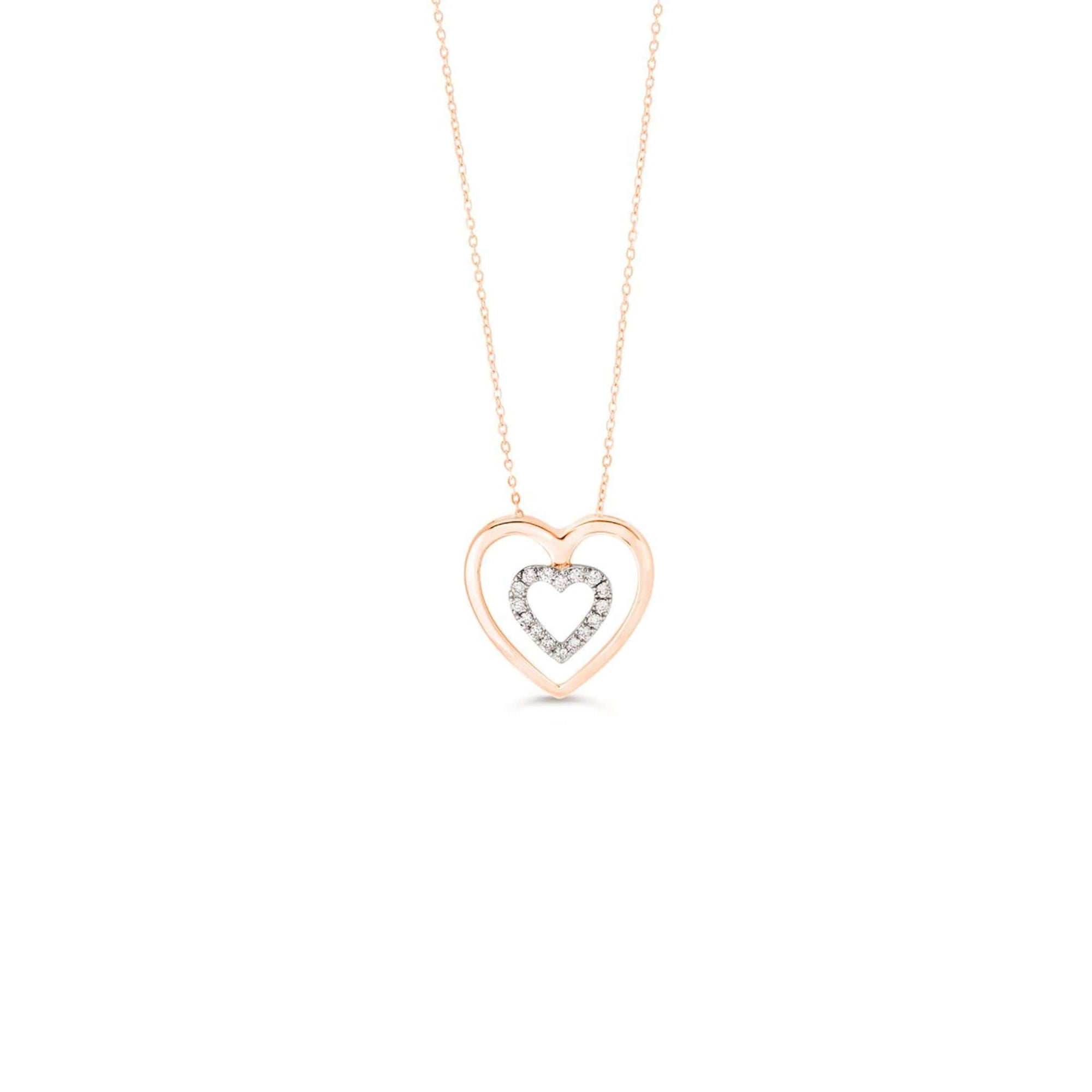 10K Rose Gold Diamond Heart Necklace at Arman's Jewellers