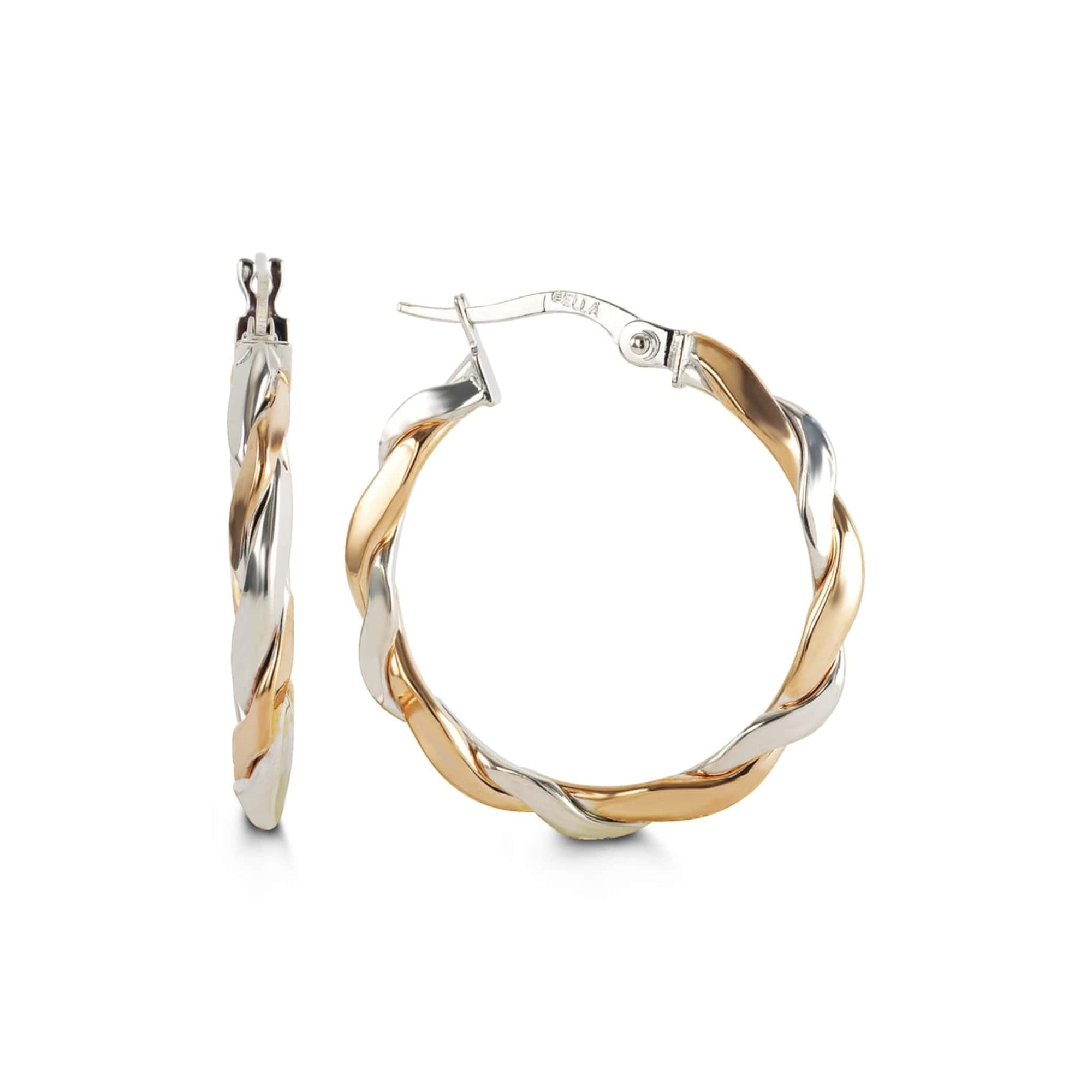 10K Rose & White Gold Twist Hoop Earrings at Arman's Jewellers