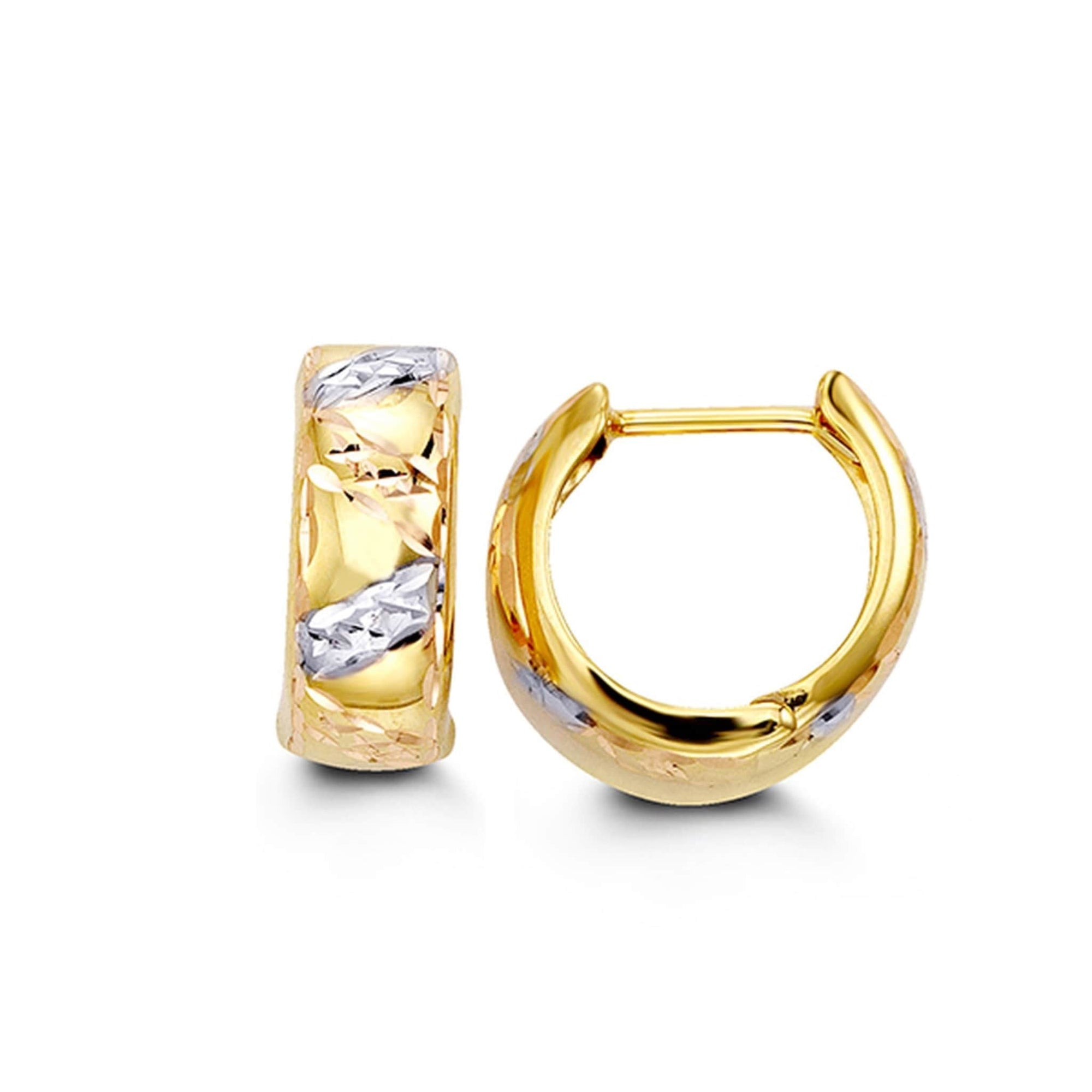 10K Tri-Colour Diamond-Cut Huggie Hoop Earrings at Arman's Jewellers