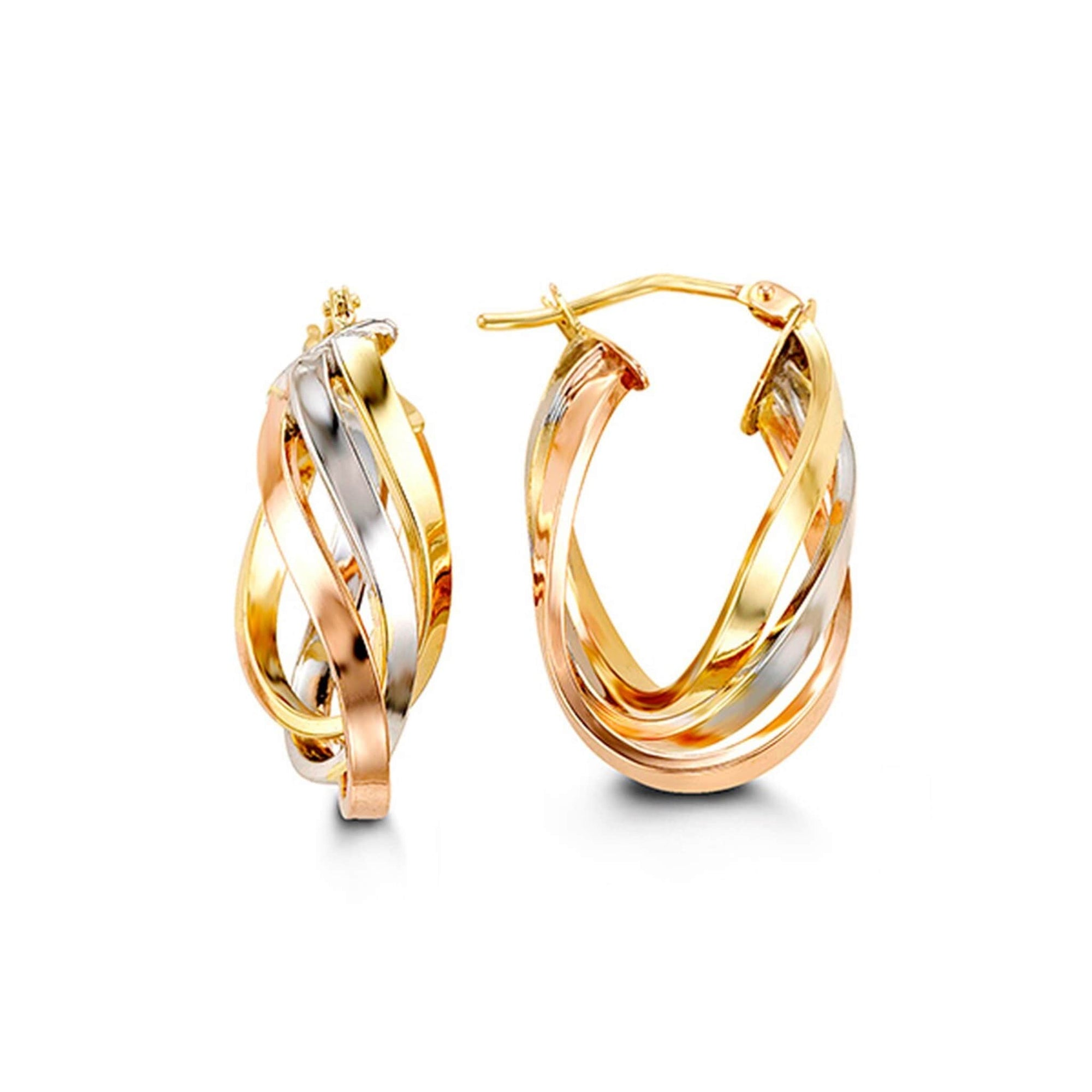 10K Tri-Colour Gold Hoop Earrings at Arman's Jewellers