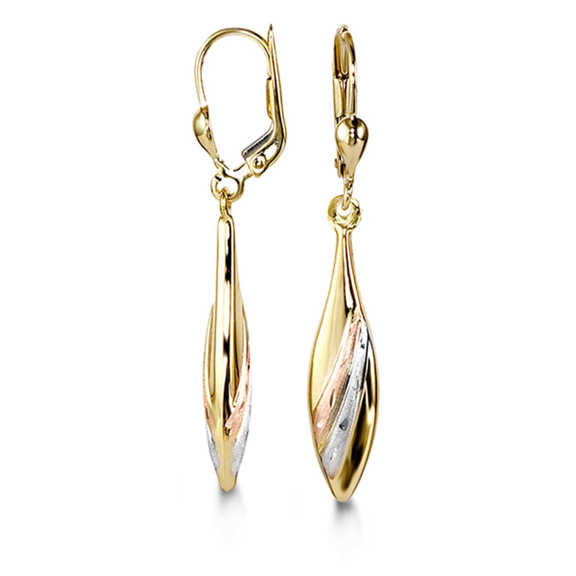 10K Tri-Gold Dangle Earrings at Arman's Jewellers