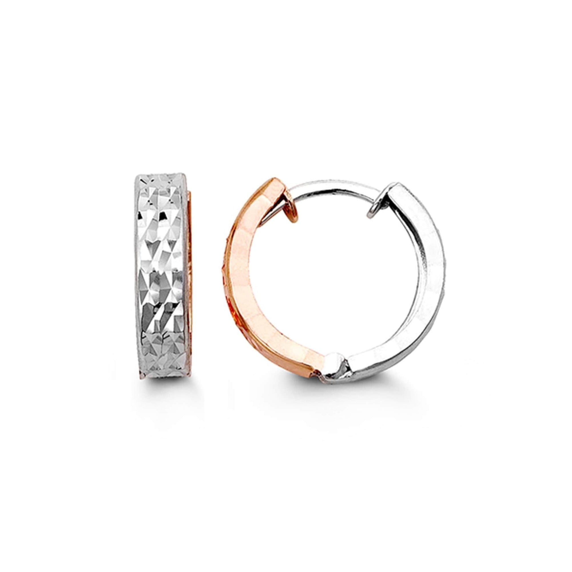 10K Rose & White Gold Huggie Hoop Earrings at Arman's Jewellers