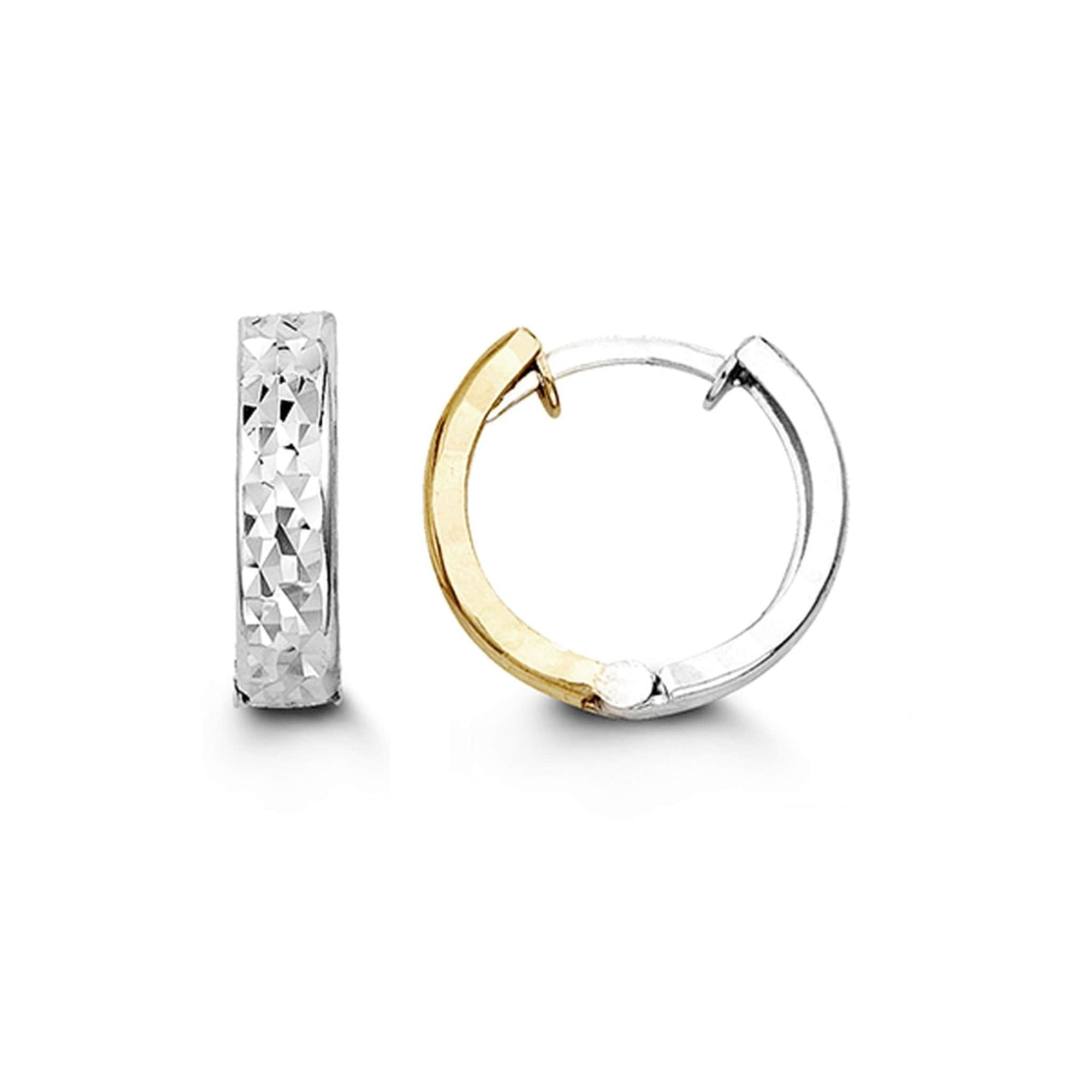 10K Yellow & White Gold Huggie Hoop Earrings at Arman's Jewellers