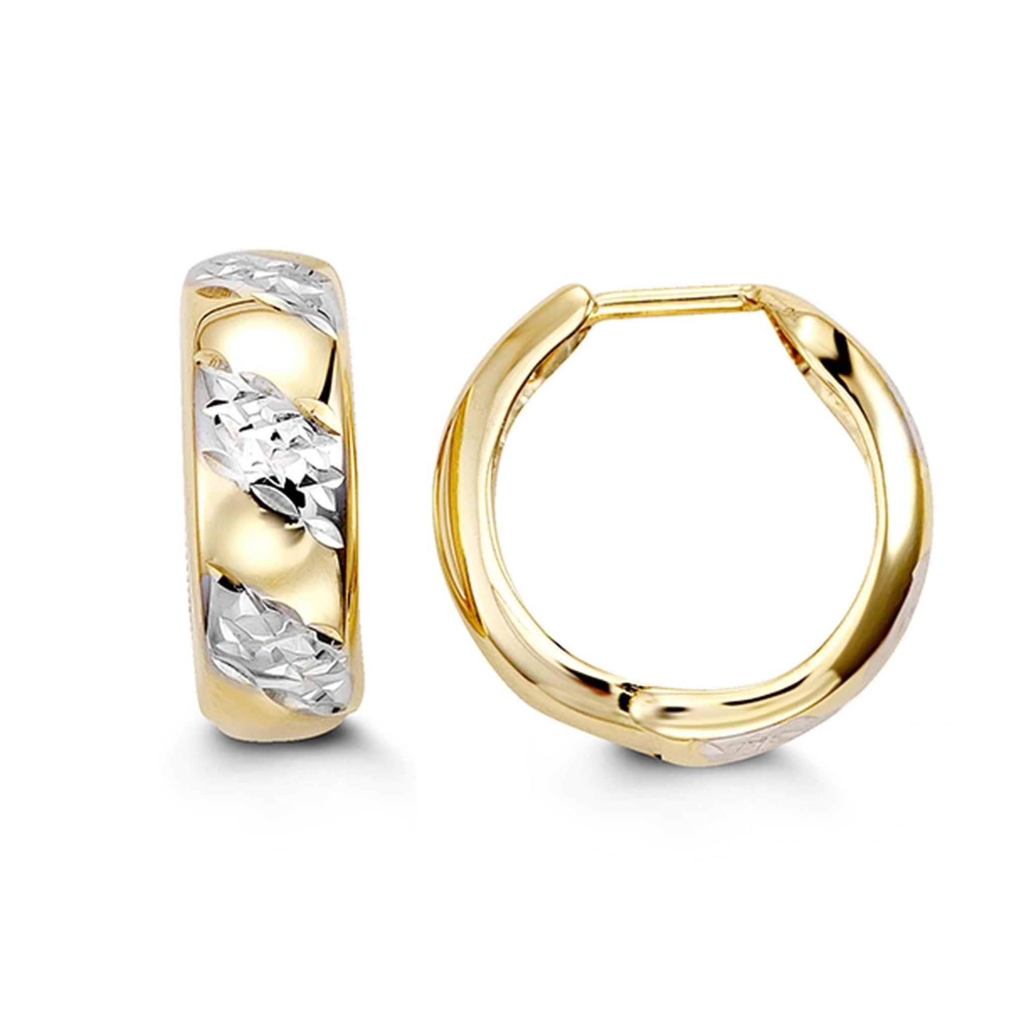 10K Two-Tone Diamond-Cut Huggie Hoop Earrings at Arman's Jewellers