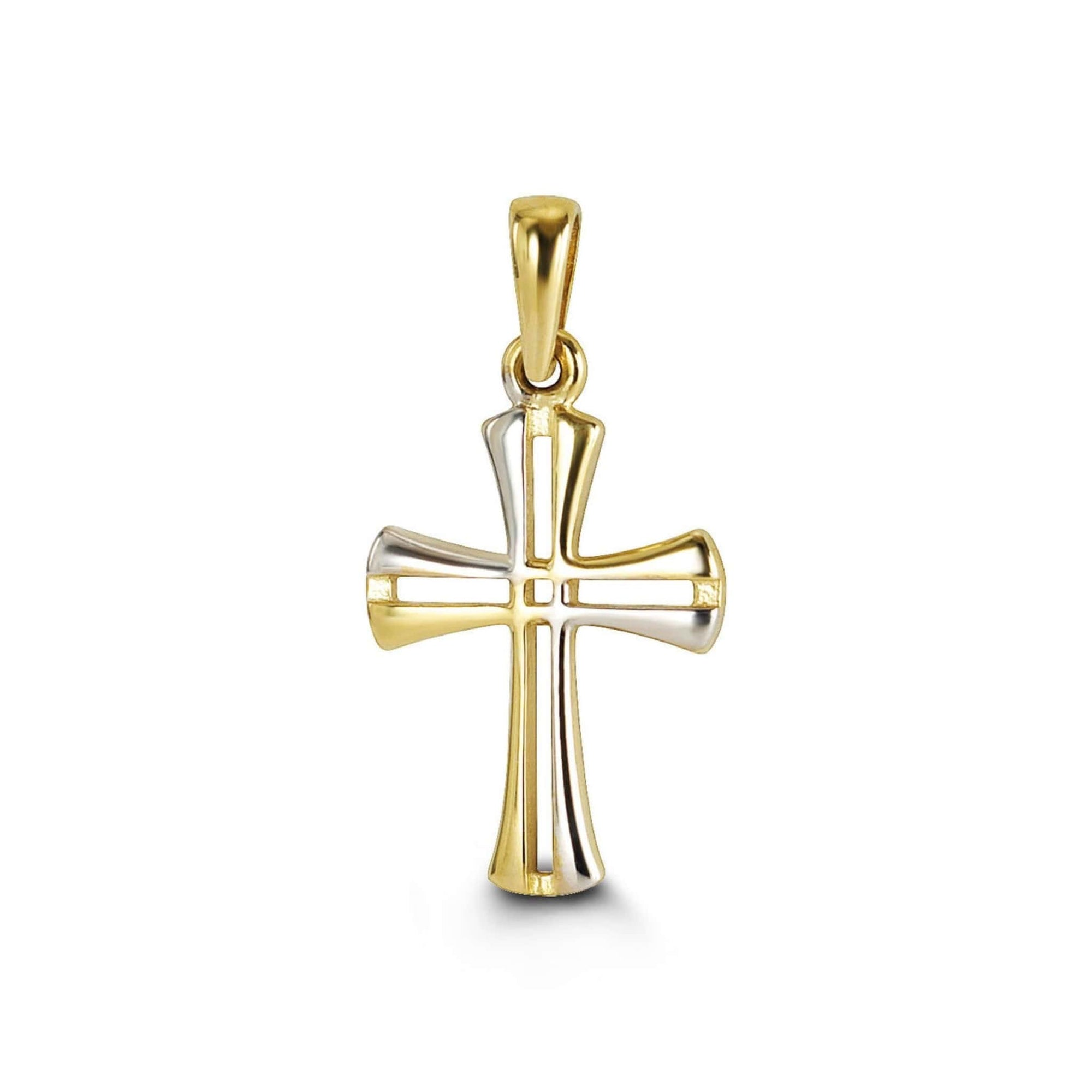 10K Two-Tone Modern Cross Pendant at Arman's Jewellers