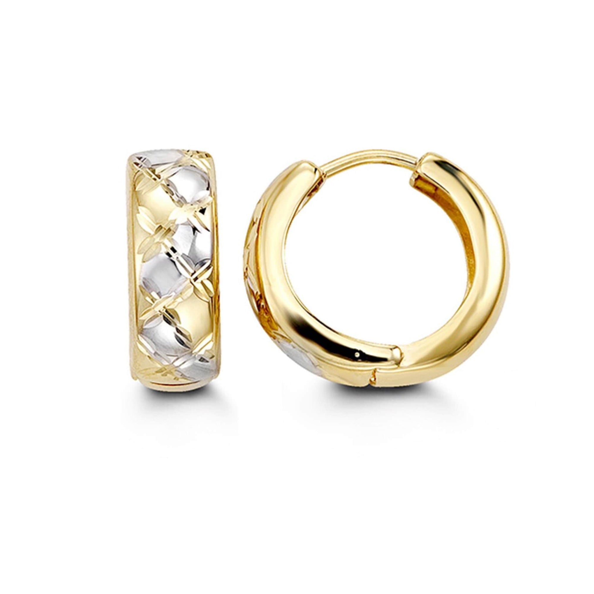 10K Two-Tone Fancy Huggie Hoop Earrings at Arman's Jewellers