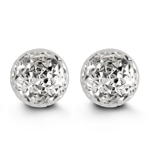 10mm 10K White Gold Diamond-cut Ball Stud Earrings at Arman's Jewellers
