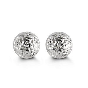 7mm 10K White Gold Diamond-cut Ball Stud Earrings at Arman's Jewellers