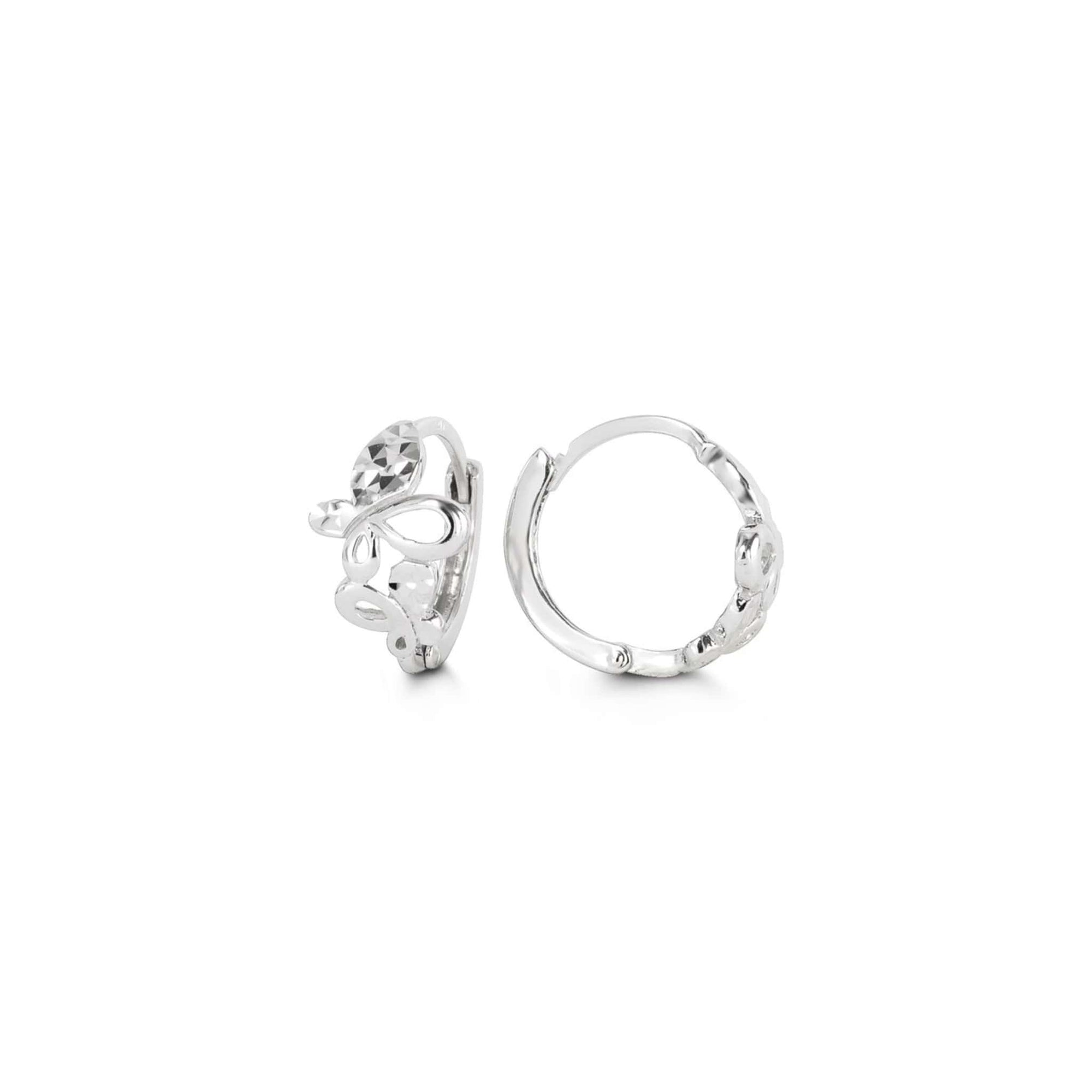10K White Gold Butterfly Huggie Hoop Earrings at Arman's Jewellers
