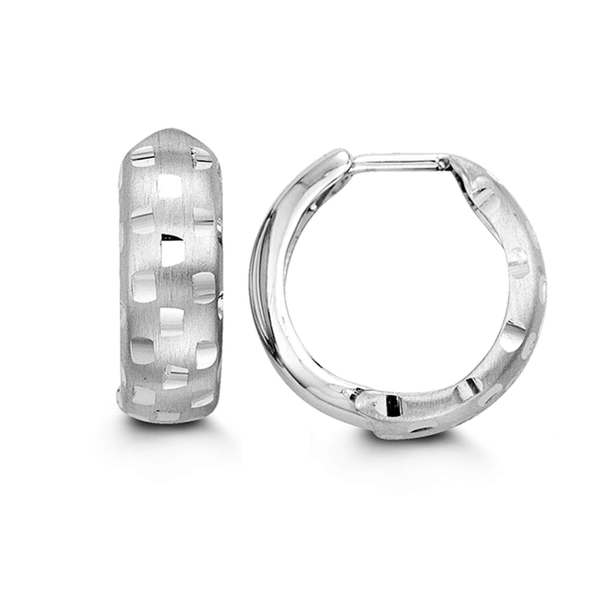 10K White Gold Detailed Huggie Hoop Earrings at Arman's Jewellers